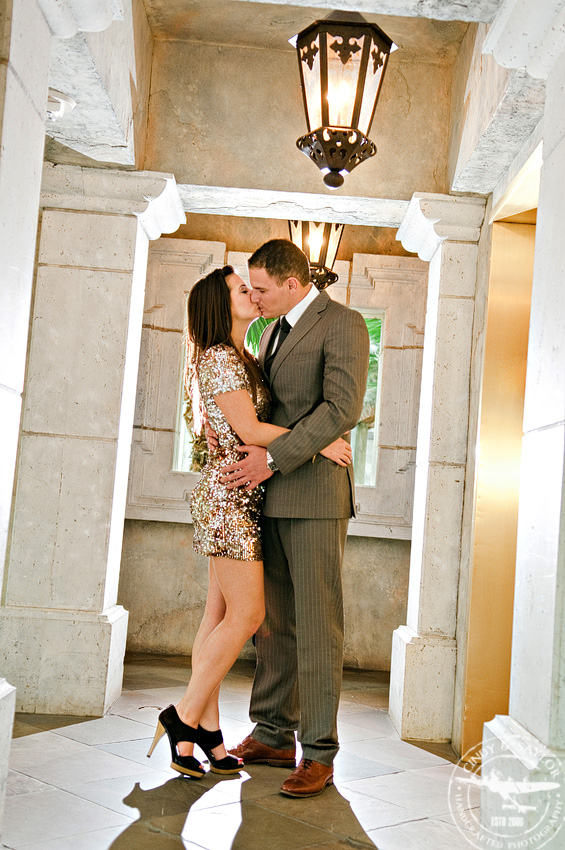 formally dressed engaged couple in a romantic portrait taken at the gaylord texas resort and wedding venue in grapevine texas