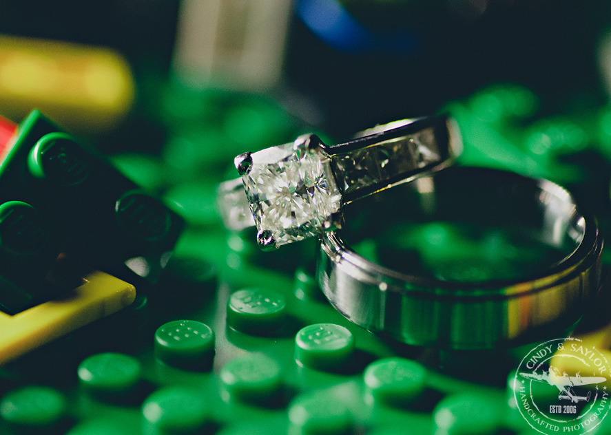 wedding ring photo with legos taken in dallas texas