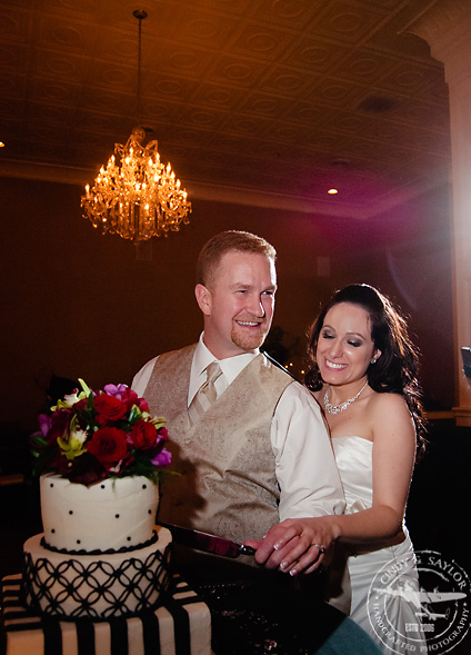 bride and groom cutting cake by sweet art bakery at rick's chophouse ballroom at the grand hotel in mckinney texas