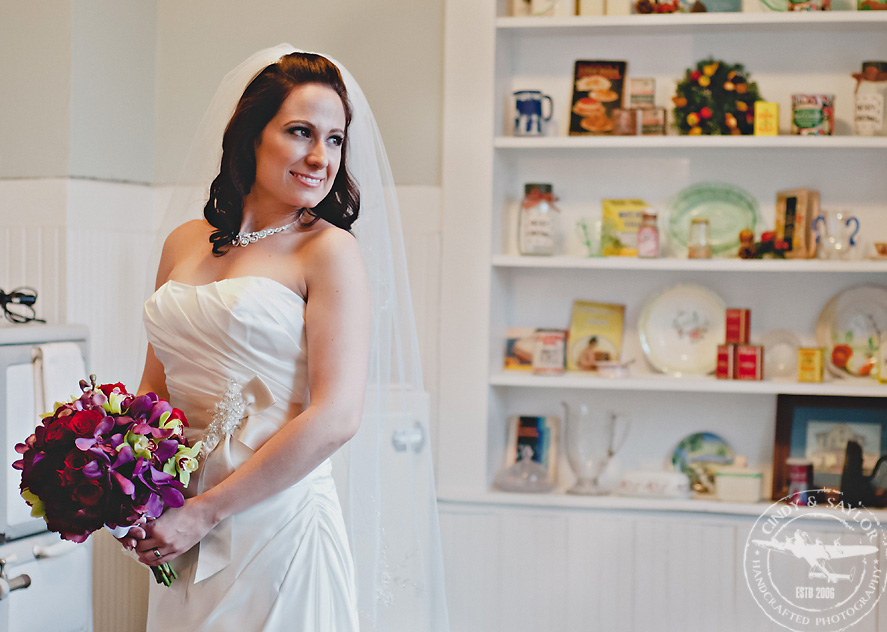 bridal portrait in a vintage farmhouse kitchen at chestnut square in mckinney texas