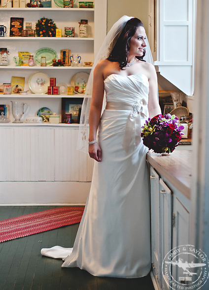vintage kitchen with bride in north texas at the chapel on chestnut square