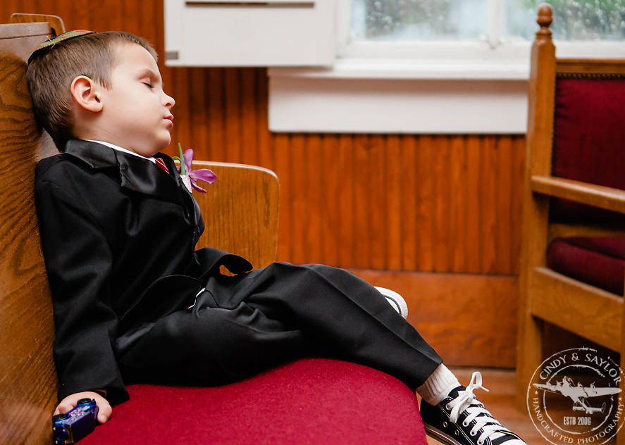 ring bearer asleep during the ceremony in mckinney texas