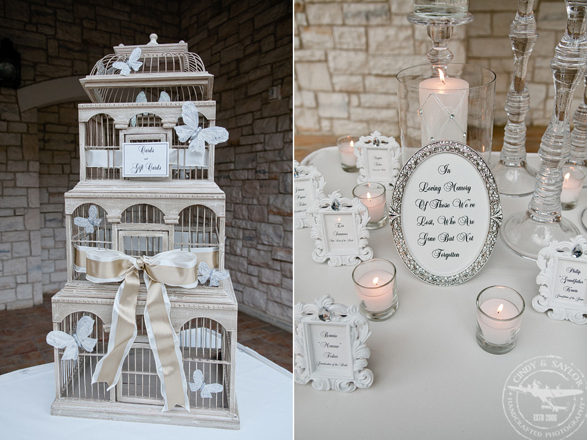 bird cage gift table and memorial on sign in table at summer wedding at gaylord texan in grapevine texas
