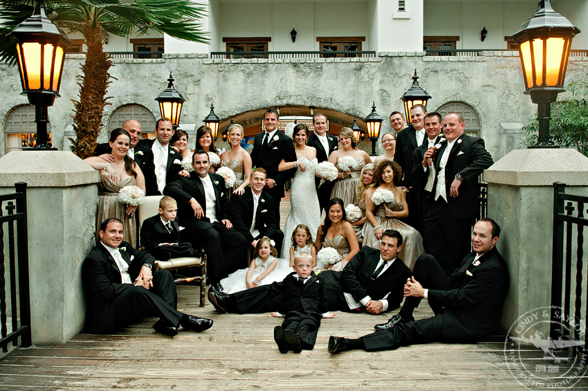 large bridal party photo on the bridge at the gaylord texan resort