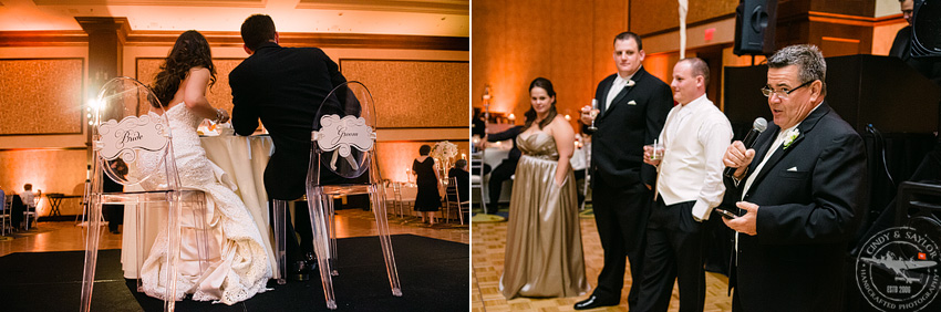 ghost chairs with bride and groom signs