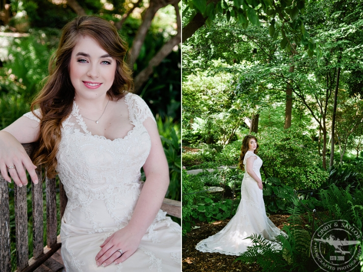 dallas bridal photos at the arboretum in a dress from stardust celebrations with makeup by something you