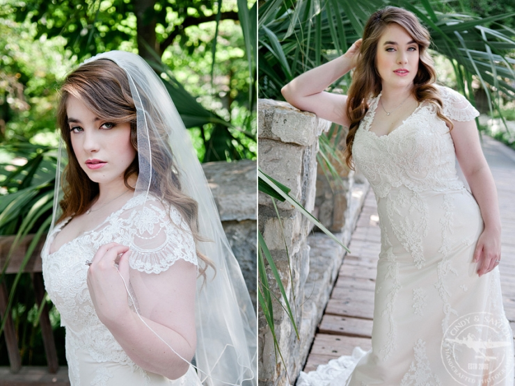 bridal dress with shoulder cap lace by stardust celebrations worn by a bride at dallas arboretum and botanical garden