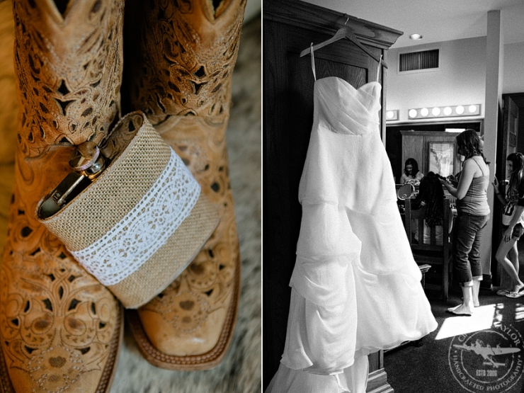Bridal Gown and boots, while bride gets ready at the Historic Stockyards Hotel