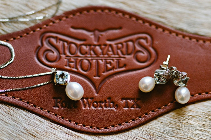 details of bride at the stockyards hotel in fort worth, texas